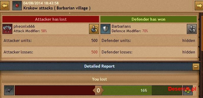 nieudany atak na wioskę barbarzyńską
