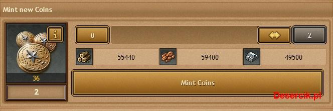 proces wybijania złotych monet