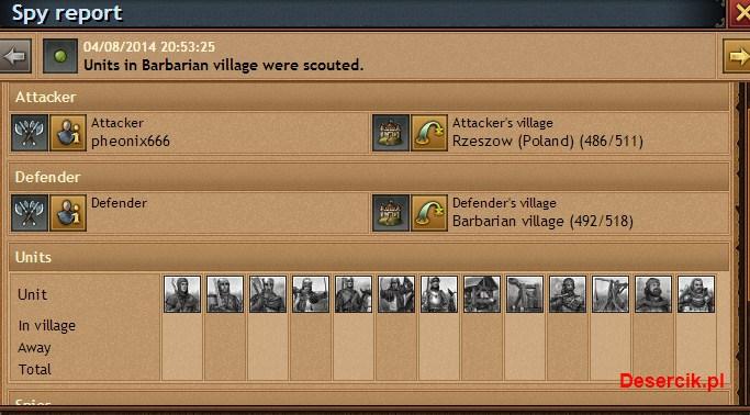 szpiegowanie barbarzyńskiej wioski