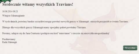 Informacja o przenosinach konta Travians do Miramagia
