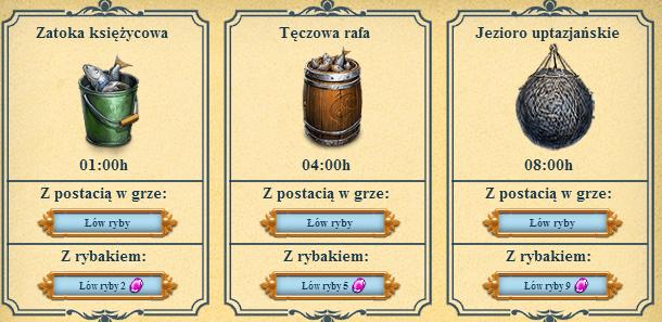 trzy łowiska: