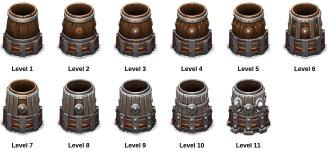 Wygląd wież Cannon na kolejnych poziomach