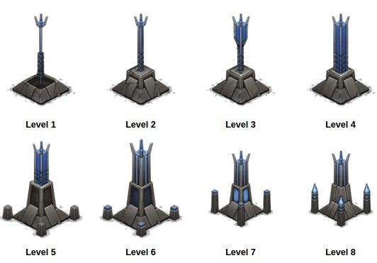 Wygląd wież Storm Spire na kolejnych poziomach