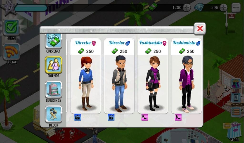 Hollywood U: Rising Stars – Lista kombinacji postaci w grze