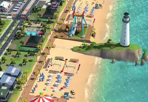 Plaża i nowe budynki w SimCity BuildIt