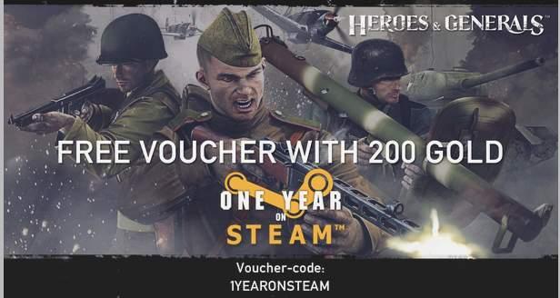 Heroes and Generals: Kod bonusowy z okazji 1 rocznicy