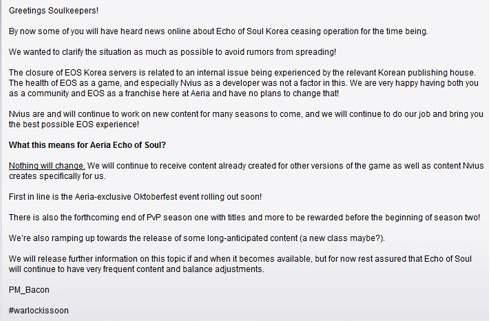 Oficjalne stanowisko Aeria Games w sprawie przyszłości gry Echo of Soul