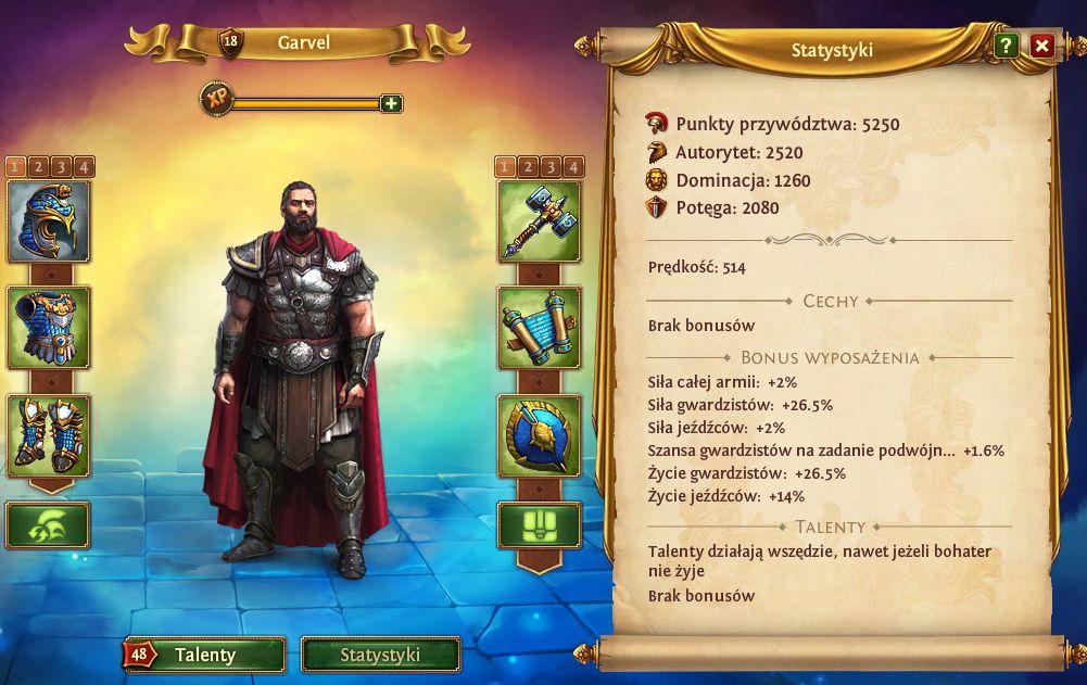 Statystyki kapitana i bohaterów w Total Battle