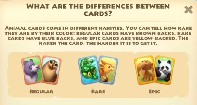 Różne rodzaje kart zwierząt